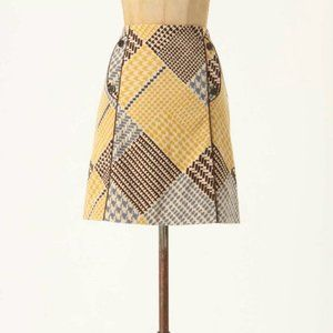 Anthropologie Maeve Houndstooth Collage Skirt